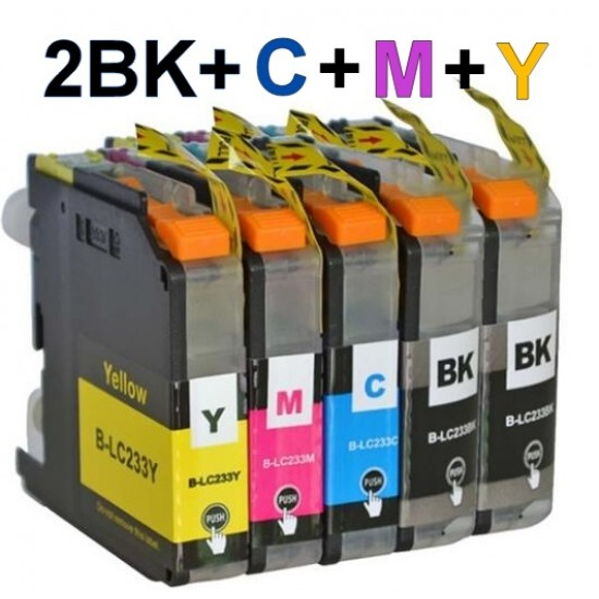 Brother LC233 ink Cartridge 2BK+C+M+Y