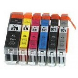 Compatible Canon MG7760 PGI670 CLI671XL Ink Cartridge Full Set (6 cartridges)