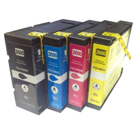 Canon PGi2600 XL Ink Cartridge Compatible BK+C+M+Y Full Set