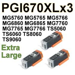 PGI670XL PGI670 XL BK ink cartridges x3 compatible