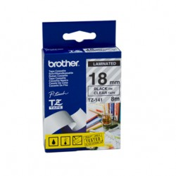 Brother 18mm Black Text On Clear Tape - 8 metres Tonerink Brand Tonerink Brand