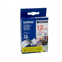 Brother 12mm Red Text On White Tape - 8 metres Tonerink Brand Tonerink Brand