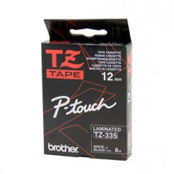 Brother 12mm White Text On Black Tape - 8 metres Tonerink Brand Tonerink Brand