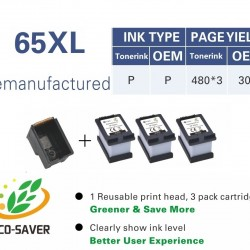 HP 65XL ink Cartridge Compatible ecosave equals to 3* XL cartridge